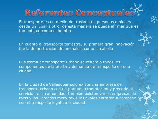 El transporte es un medio de traslado de personas o bienesdesde un lugar a otro, de esta manera se puede afirmar que estan...