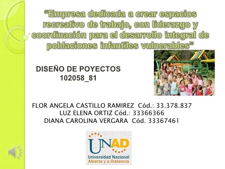 DISEÑO DE POYECTOS      102058_81FLOR ANGELA CASTILLO RAMIREZ Cód.: 33.378.837       LUZ ELENA ORTIZ Cód.: 33366366   DIAN...
