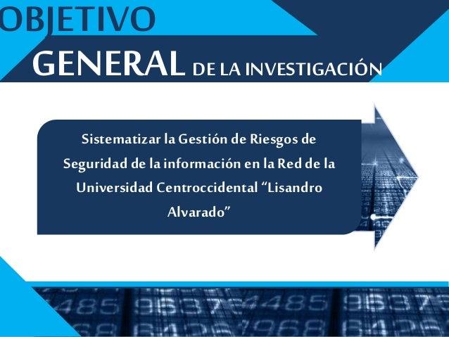 2 1 3 ESPECÍFICOS OBJETIVOS El procesoactualdela Gestión deRiesgosdeSeguridaddela Informaciónen la ReddelaUniversidad Cent...