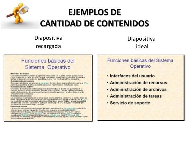 EJEMPLOS DE CANTIDAD DE CONTENIDOS Diapositiva ideal Diapositiva recargada