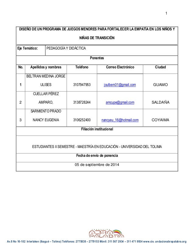 1  Av.8 No 16-102 Interlaken (Ibagué – Tolima) Teléfonos: 2775838 – 2779153 Móvil: 311 567 2934 – 311 471 9934 www.cie. un...