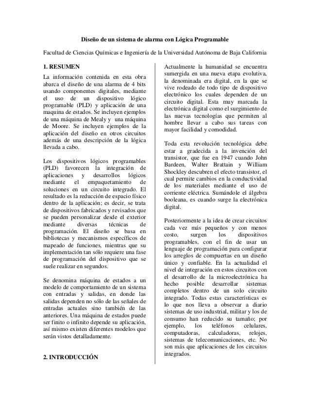 Diseño de un sistema de alarma con Lógica ProgramableFacultad de Ciencias Químicas e Ingeniería de la Universidad Autónoma...