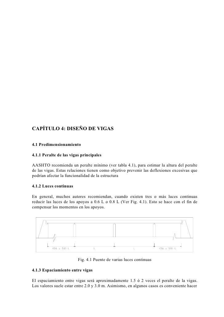 CAPÍTULO 4: DISEÑO DE VIGAS4.1 Predimensionamiento4.1.1 Peralte de las vigas principalesAASHTO recomienda un peralte mínim...