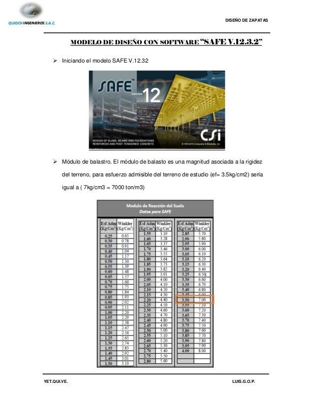 Diseño De Zapatas Excel Y Safe 12 3 2
