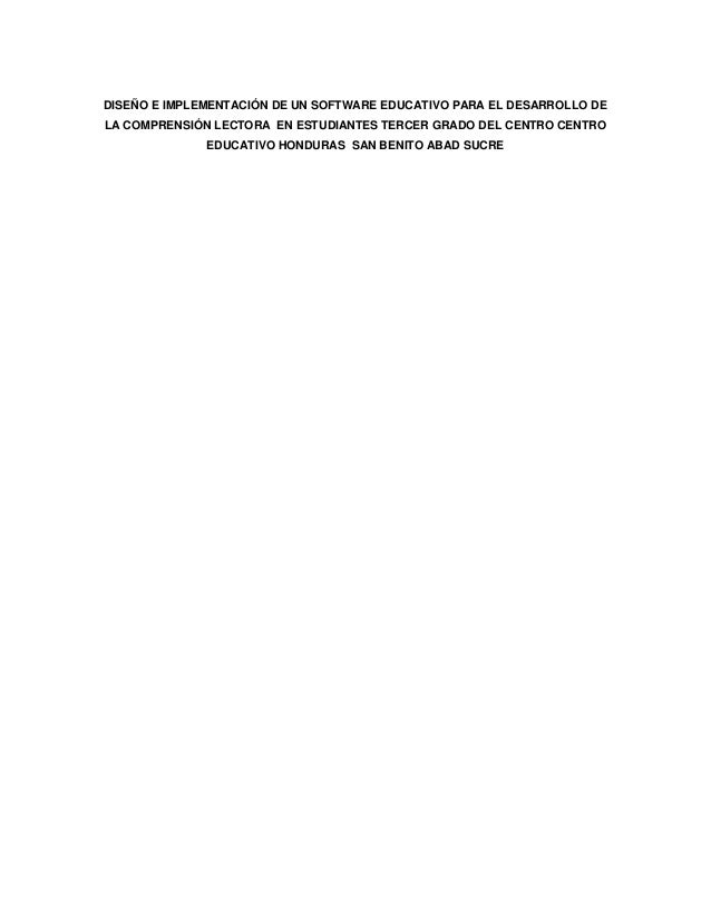 DISEÑO E IMPLEMENTACIÓN DE UN SOFTWARE EDUCATIVO PARA EL DESARROLLO DELA COMPRENSIÓN LECTORA EN ESTUDIANTES TERCER GRADO D...