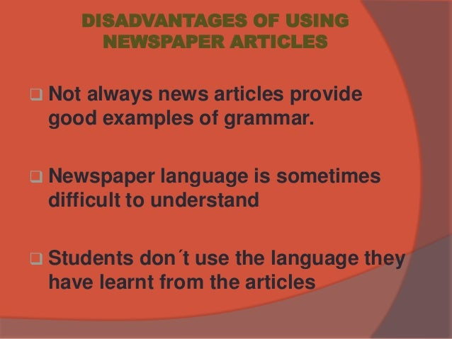 advantages of using newspaper articles in research
