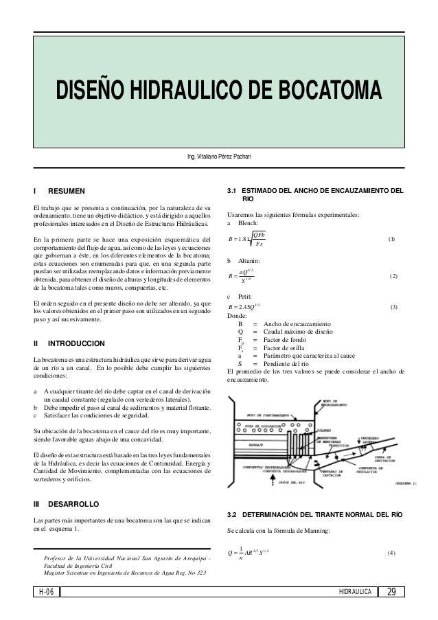Dise o hidraulico de una bocatoma for Diseno hidraulico de una piscina