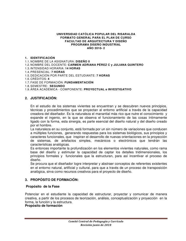 UNIVERSIDAD CATÓLICA POPULAR DEL RISARALDA<br />FORMATO GENERAL PARA EL PLAN DE CURSO<br />FACULTAD DE ARQUITECTURA Y DISE...