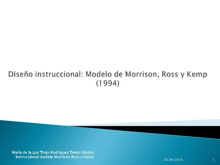 Diseño instruccional: Modelo de Morrison, Ross y Kemp(1994)<br />25/06/2010<br />1<br />María de la Luz Trejo Rodríguez Te...