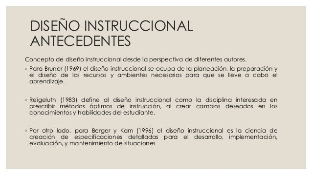 DISEÑO INSTRUCCIONAL ANTECEDENTES Concepto de diseño instruccional desde la perspectiva de diferentes autores. ◦ Para Brun...