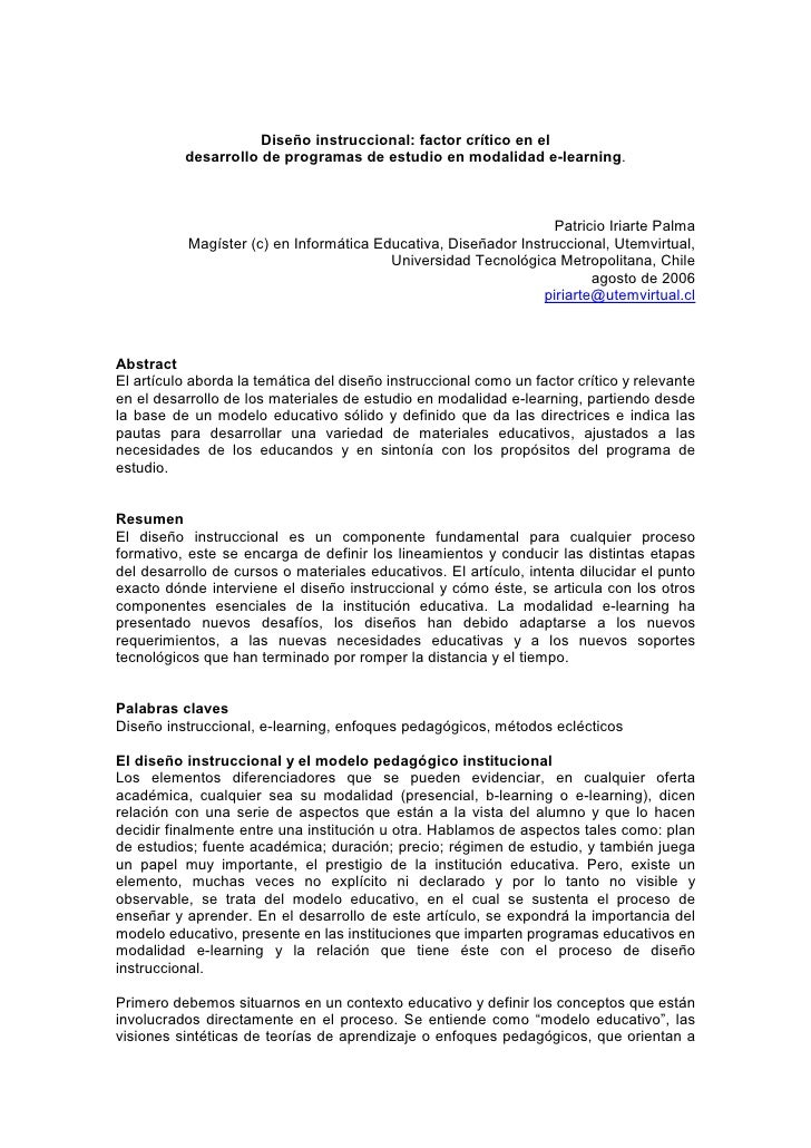 Diseño instruccional: factor crítico en el           desarrollo de programas de estudio en modalidad e-learning.          ...