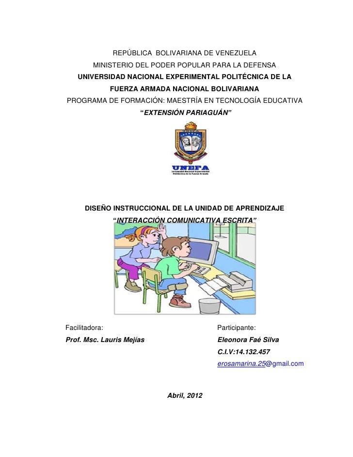 REPÚBLICA BOLIVARIANA DE VENEZUELA         MINISTERIO DEL PODER POPULAR PARA LA DEFENSA    UNIVERSIDAD NACIONAL EXPERIMENT...