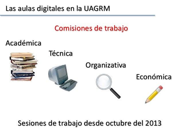 Las aulas digitales en la UAGRM Comisiones de trabajo Académica Técnica Organizativa Económica Sesiones de trabajo desde o...