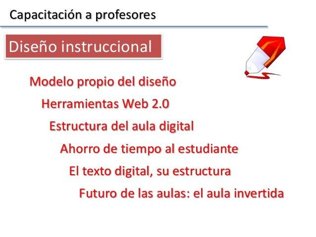 Capacitación a profesores Herramientas Web 2.0 Modelo propio del diseño Diseño instruccional Estructura del aula digital A...