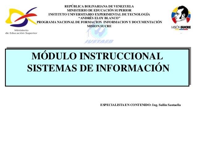 REPÚBLICA BOLIVARIANA DE VENEZUELA               MINISTERIO DE EDUCACIÓN SUPERIOR      INSTITUTO UNIVERSITARIO EXPERIMENTA...