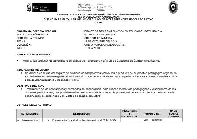 PROGRAMA DE SEGUNDA ESPECIALIDAD EN DIDÁCTICA DE LA EDUCACIÓN CIUDADANA ÍTEM 01 UGEL ABANCAY/ANDAHUAYLAS DISEÑO PARA EL TA...
