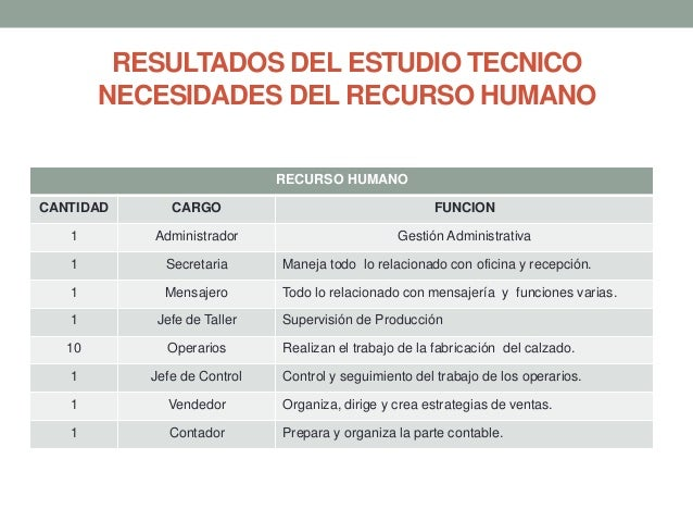 RESULTADOS DEL ESTUDIO TECNICO NECESIDADES DEL RECURSO HUMANO RECURSO HUMANO CANTIDAD  CARGO  FUNCION  1  Administrador  G...