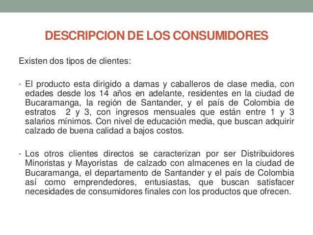 DESCRIPCION DE LOS CONSUMIDORES Existen dos tipos de clientes: • El producto esta dirigido a damas y caballeros de clase m...