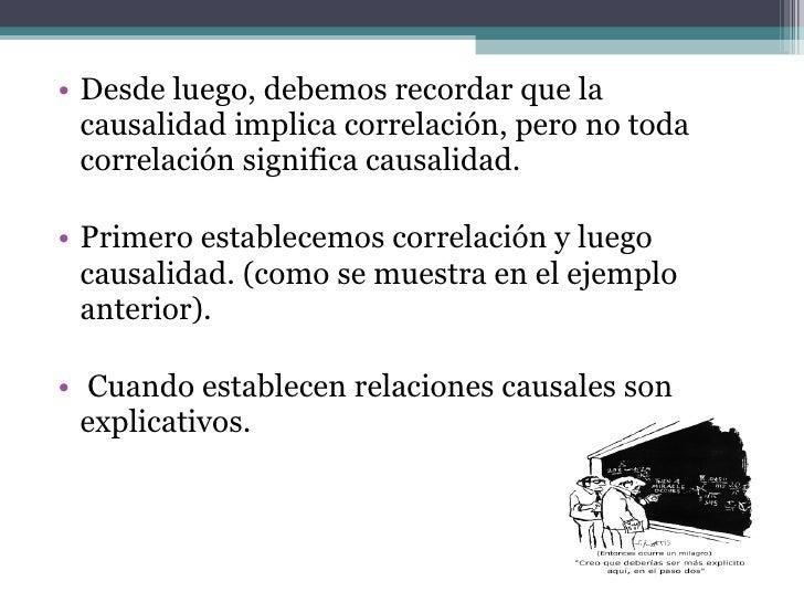 <ul><li>Desde luego, debemos recordar que la causalidad implica correlación, pero no toda correlación significa causalidad...