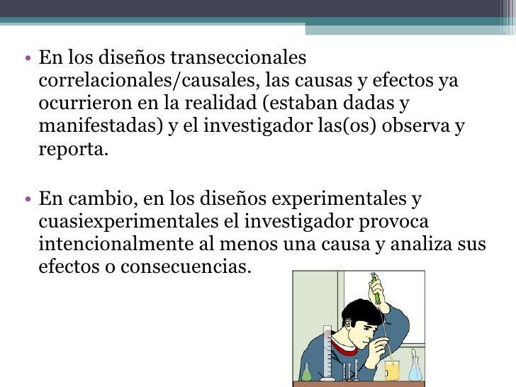 <ul><li>En los diseños transeccionales correlacionales/causales, las causas y efectos ya ocurrieron en la realidad (estaba...
