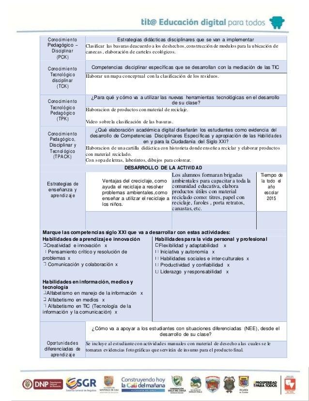 Conocimien to Pedagógico – Disciplinar (PCK) Estrategias didácticas disciplinares que se van a implementar Clasificar las ...