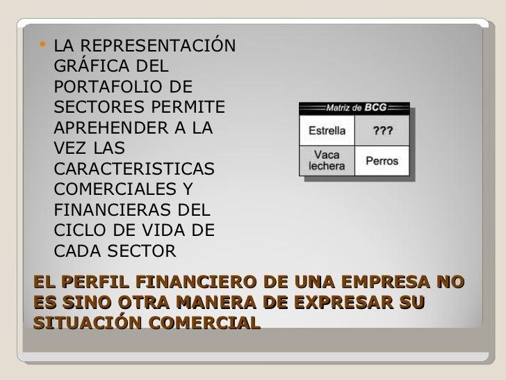 EL PERFIL FINANCIERO DE UNA EMPRESA NO ES SINO OTRA MANERA DE EXPRESAR SU SITUACIÓN COMERCIAL <ul><li>LA REPRESENTACIÓN GR...