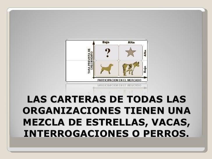 LAS CARTERAS DE TODAS LAS ORGANIZACIONES TIENEN UNA MEZCLA DE ESTRELLAS, VACAS, INTERROGACIONES O PERROS.