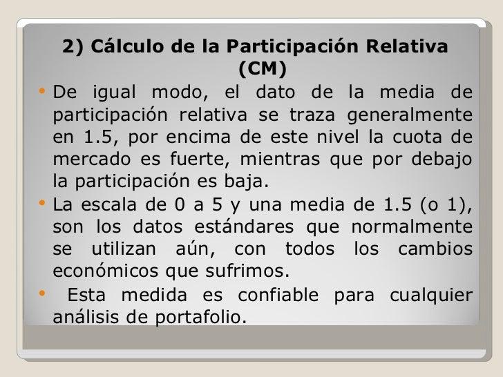 <ul><li>2) Cálculo de la Participación Relativa (CM) </li></ul><ul><li>De igual modo, el dato de la media de participación...