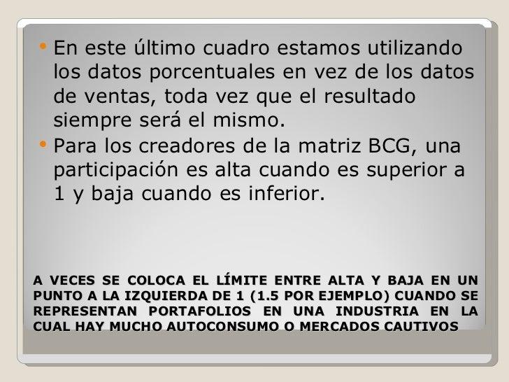 A VECES SE COLOCA EL LÍMITE ENTRE ALTA Y BAJA EN UN PUNTO A LA IZQUIERDA DE 1 (1.5 POR EJEMPLO) CUANDO SE REPRESENTAN PORT...