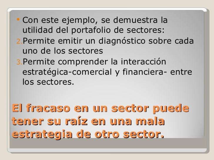 El fracaso en un sector puede tener su raíz en una mala estrategia de otro sector. <ul><li>Con este ejemplo, se demuestra ...