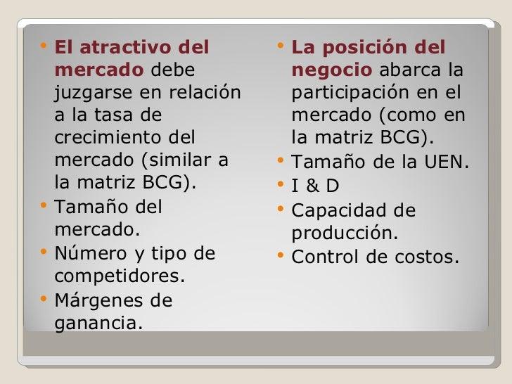 <ul><li>El atractivo del mercado  debe juzgarse en relación a la tasa de crecimiento del mercado (similar a la matriz BCG)...