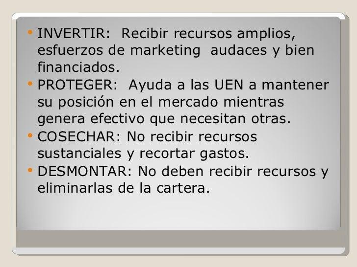 <ul><li>INVERTIR:  Recibir recursos amplios, esfuerzos de marketing  audaces y bien financiados. </li></ul><ul><li>PROTEGE...