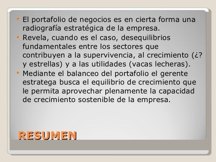 RESUMEN <ul><li>El portafolio de negocios es en cierta forma una radiografía estratégica de la empresa. </li></ul><ul><li>...
