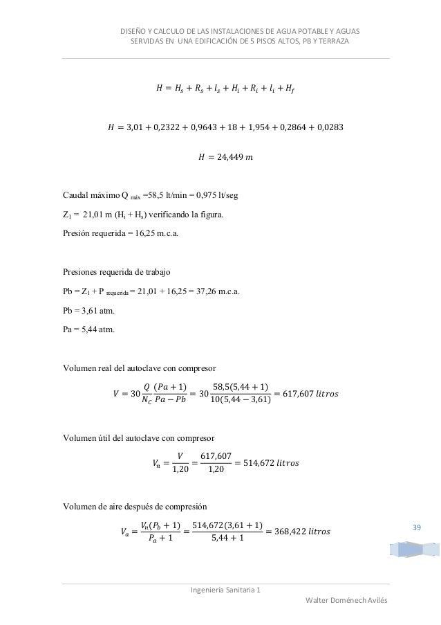 Diseño y calculo de las instalaciones de agua potable y ... - photo#8