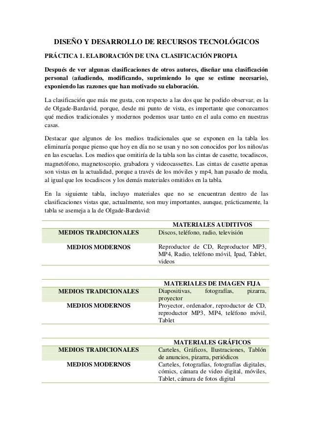 DISEÑO Y DESARROLLO DE RECURSOS TECNOLÓGICOS PRÁCTICA 1. ELABORACIÓN DE UNA CLASIFICACIÓN PROPIA Después de ver algunas cl...
