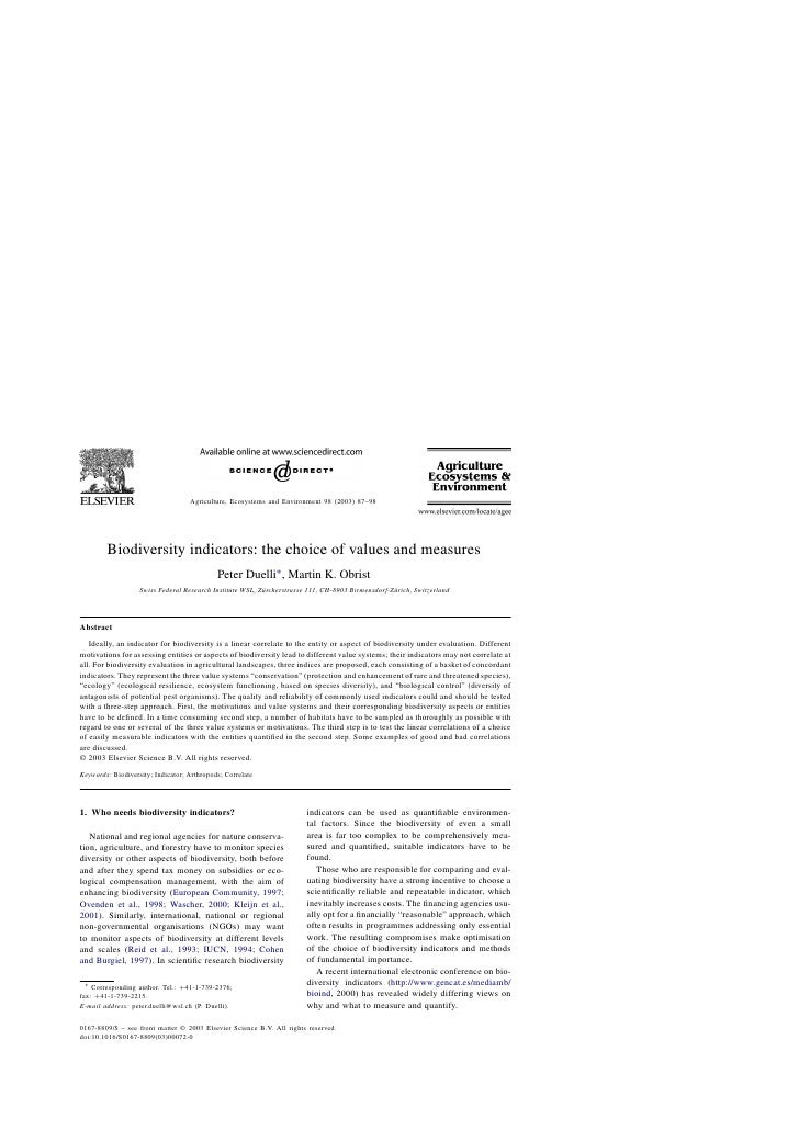 Agriculture, Ecosystems and Environment 98 (2003) 87–98        Biodiversity indicators: the choice of values and measures ...