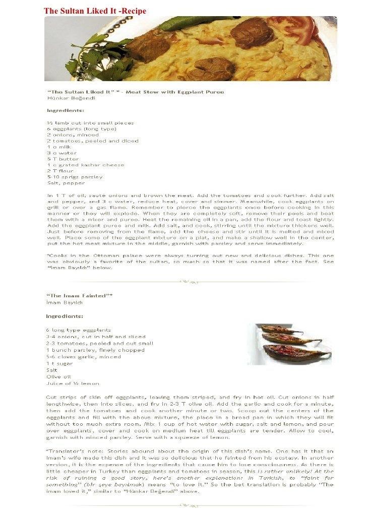 The Sultan Liked It -Recipe