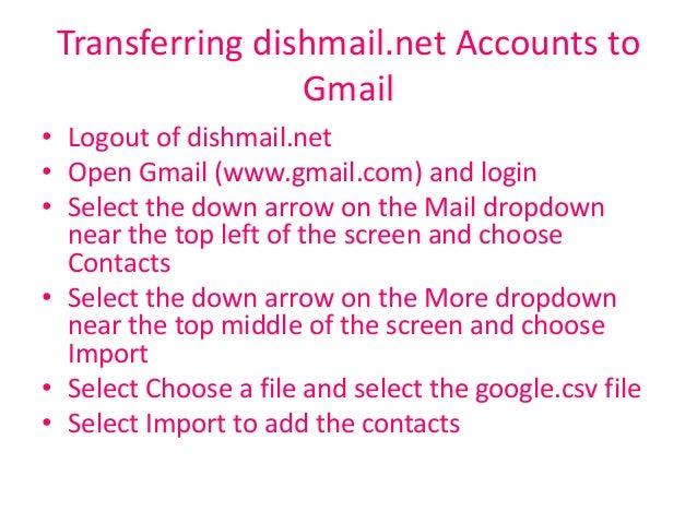 Dishmail login page