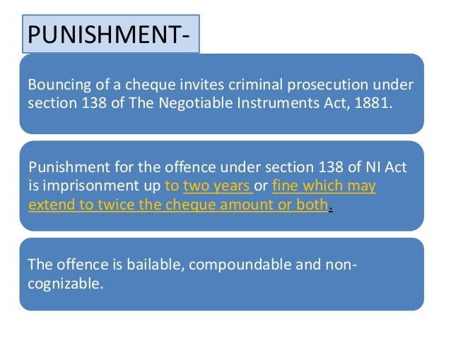 138 ni act Sc provides relief to the holders of bounced cheques under the provisions of the negotiable instruments act supreme court changes ground rule under section 138.