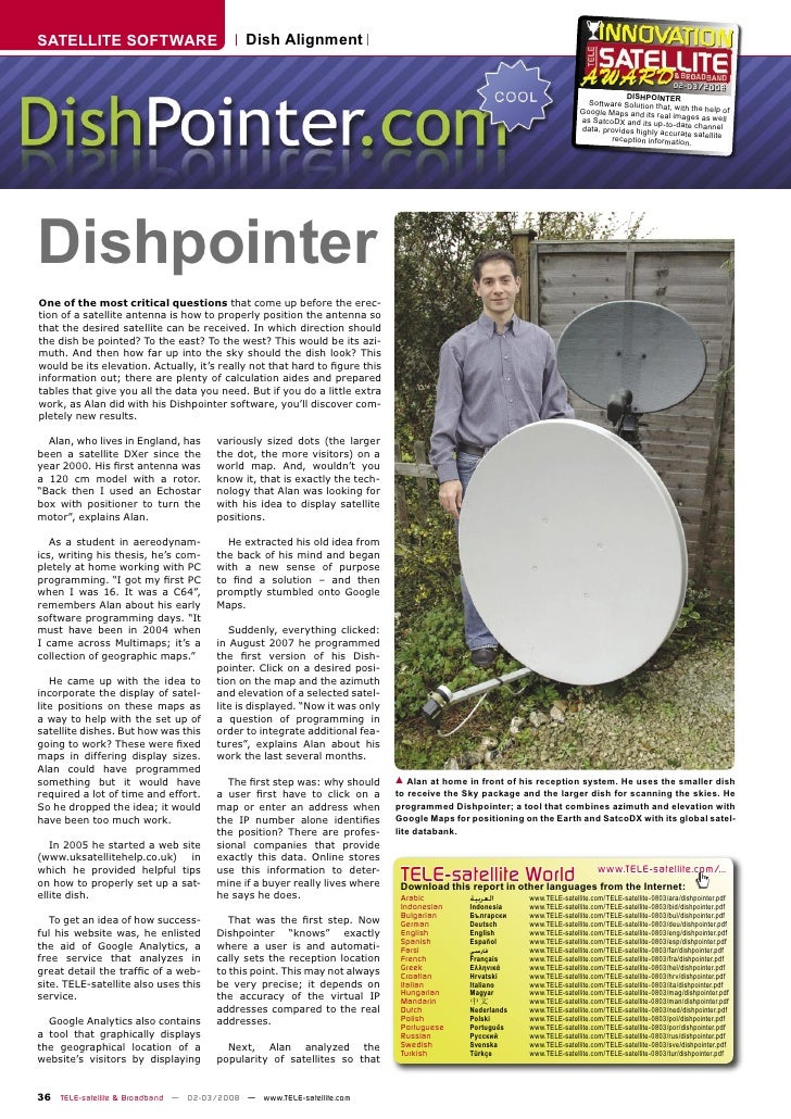 SATELLITE SOFTWARE                          Dish Alignment                                                                ...