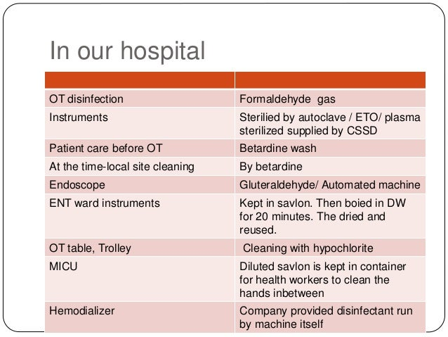 Disinfectant use in hospital