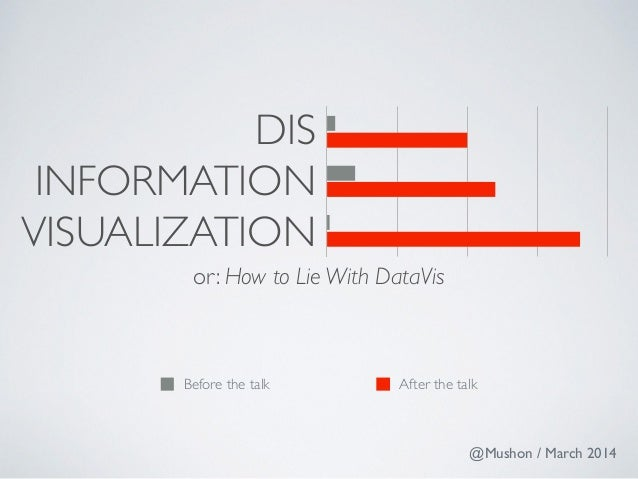 DIS  INFORMATION  VISUALIZATION  or: How to Lie With DataVis  Before the talk After the talk  @Mushon / March 2014
