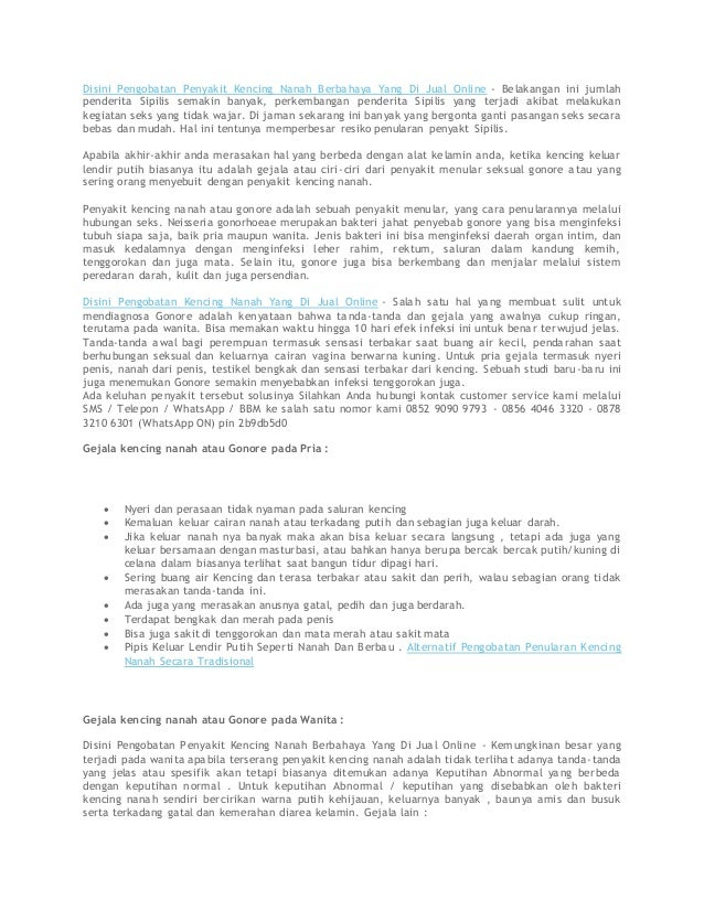 Disini Pengobatan Penyakit Kencing Nanah Berbahaya Yang Di Jual Online - Belakangan ini jumlah penderita Sipilis semakin b...