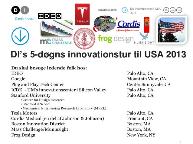 DI's innovationstur til USA 2012 21. mar. 12Nicolas Boalth 1 DI's 5-døgns innovationstur til USA 2013 Du skal besøge leden...