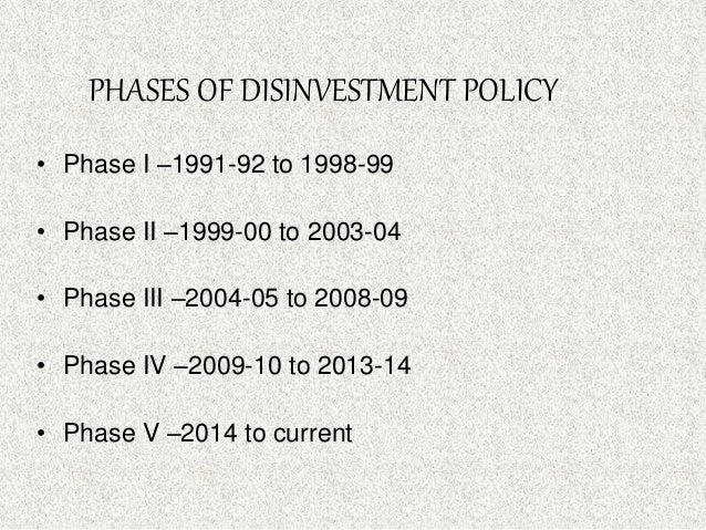 disinvestment policy in india 1991