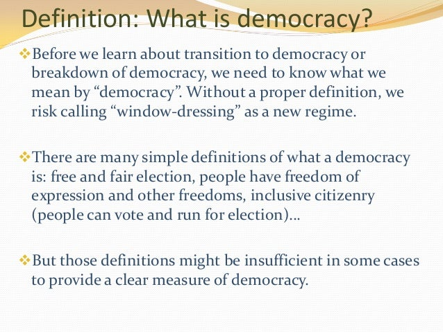 an introduction to the definition of democracy Introduction within the last if the definition of democracy involves only a low stand-ard, then differences among established democracies can hardly be identified.