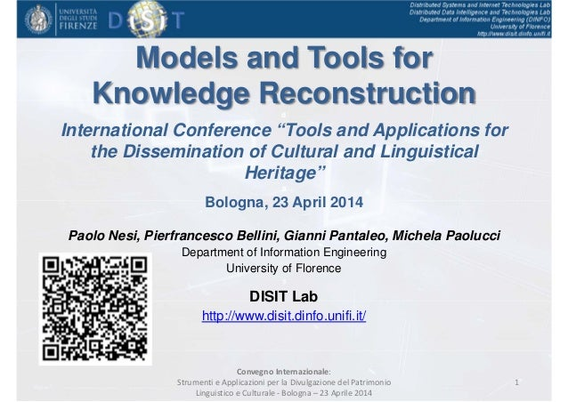"""Models and Tools for Knowledge Reconstructiond International Conference """"Tools and Applications for the Dissemination of C..."""