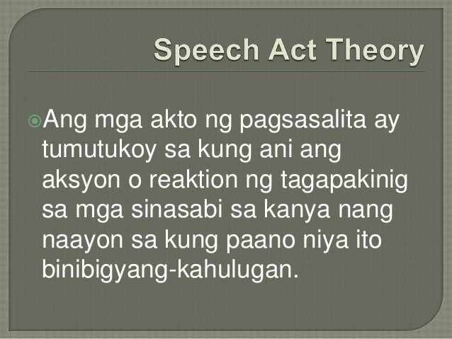 ano ang speech act theory