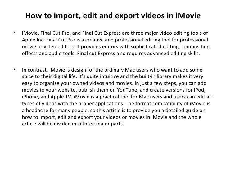 How to import, edit and export videos in iMovie