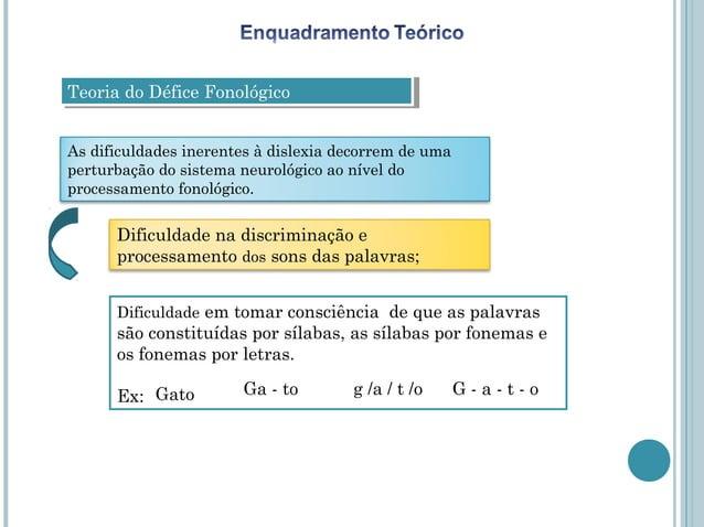 Teoria do Défice FonológicoTeoria do Défice FonológicoAs dificuldades inerentes à dislexia decorrem de umaperturbação do s...